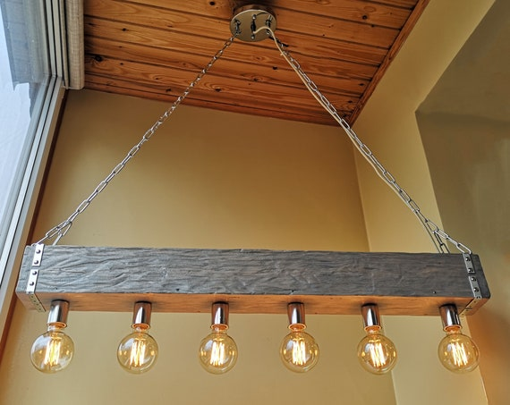 Handmade silver reclaimed wood beam chandelier