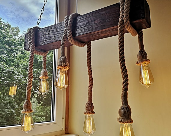 Handmade reclamed wood beam rope chandelier
