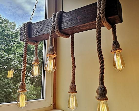 Handmade reclamed wood beam rope chandelier