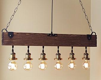wooden chandelier lighting. Farmhouse Chandelier - Wood Beam Wooden Rustic Lighting Pendant Hanging Lamp Indoor Ceiling A