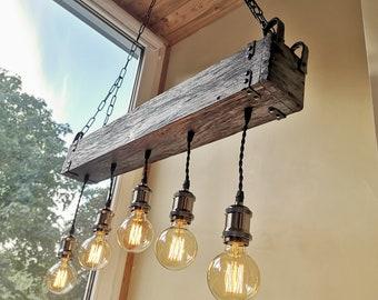 Balken Kronleuchter Holzbeleuchtung Bauernhaus | Etsy