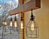 Rustic lighting - wood chandelier - rustic chandelier - rustic light fixture - farmhouse chandelier - wooden chandelier - wood beam