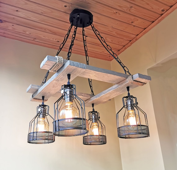 Handmade rustic light, wood fixture