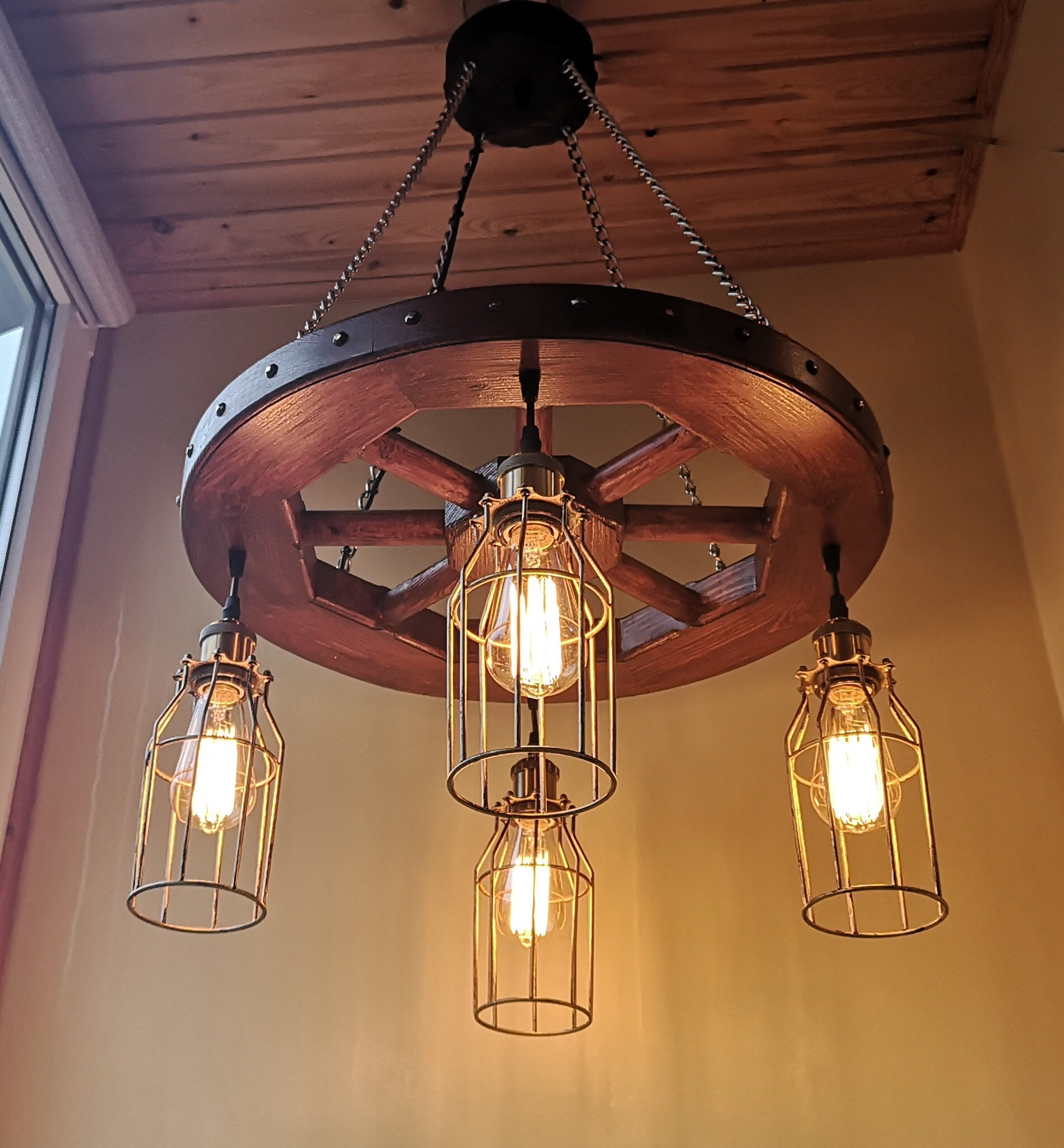 Wagon Wheel Chandelier Industrial
