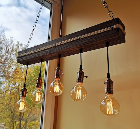 Wood beam ceiling light