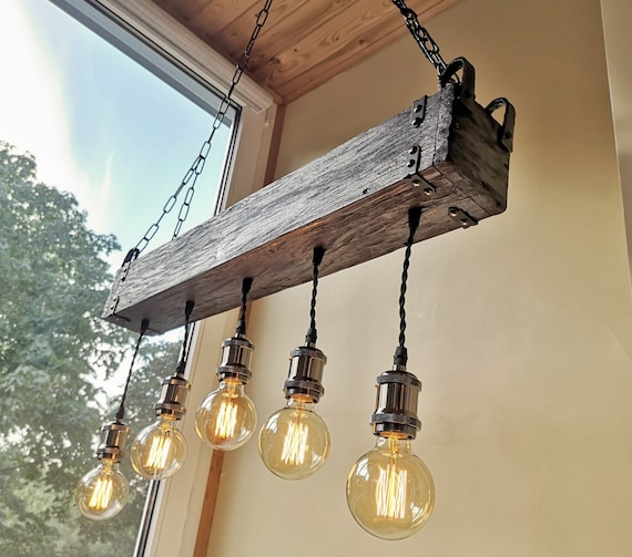 Handmade reclamed wood beam chandelier