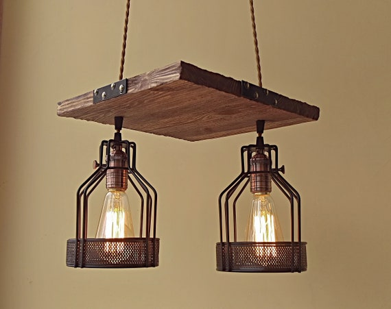 Dark Wood Ceiling Light Fixture With Metal Lamp Shades