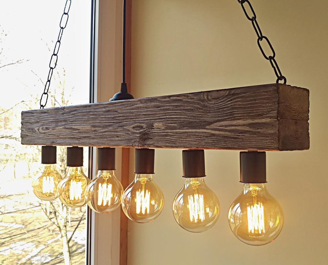 Beam chandelier - wood lighting - farmhouse chandelier - rustic chandelier - vintage chandelier - rustic light - pendant light Edison