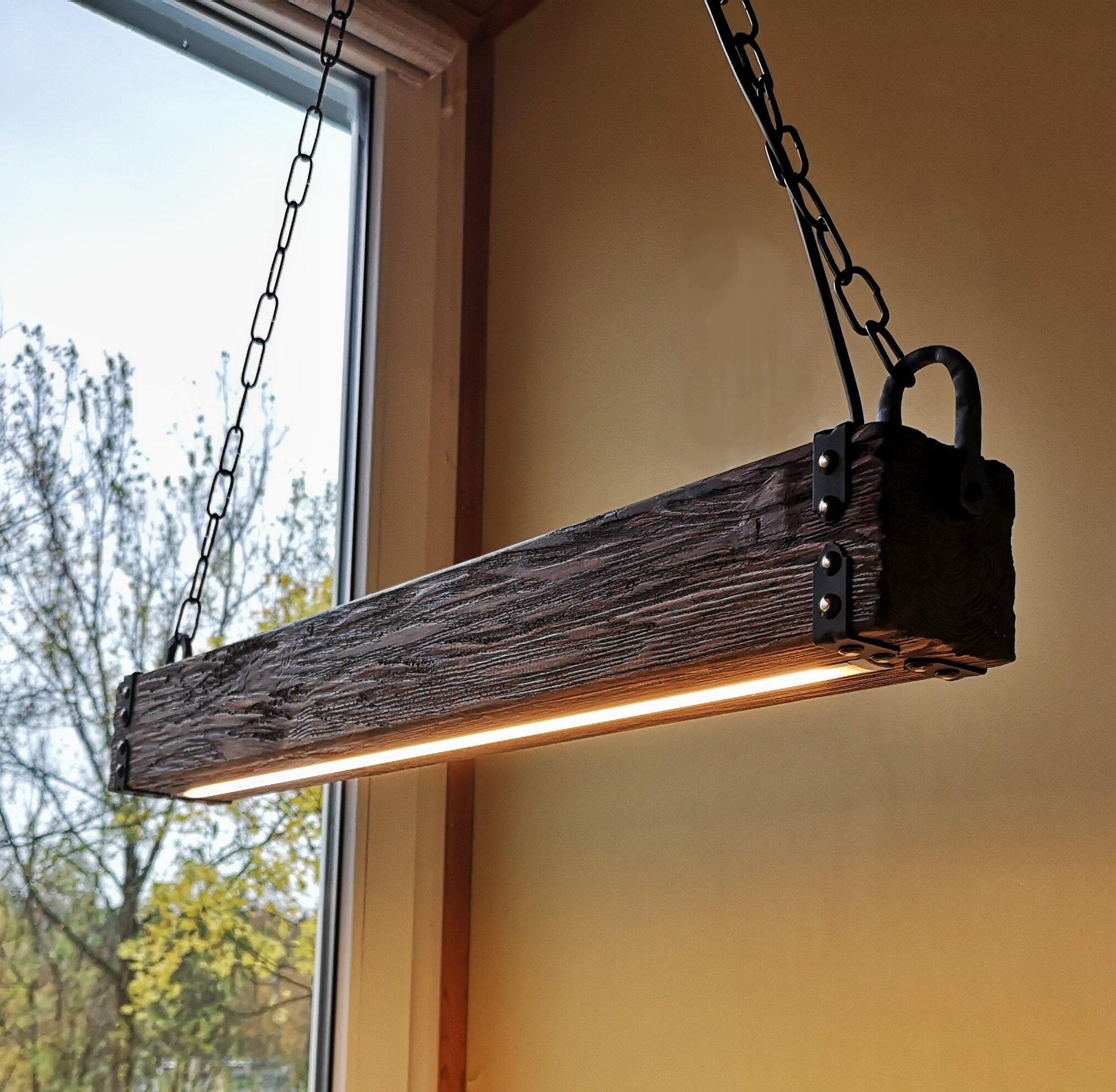 wood beam led pendant light - chandelier wooden chandelier
