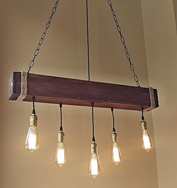 Handgemachte Balken Kronleuchter Holzbalken Kronleuchter Holz Kronleuchter rustikale Beleuchtung Bauernhaus Anhänger hängende Lampe Indoor