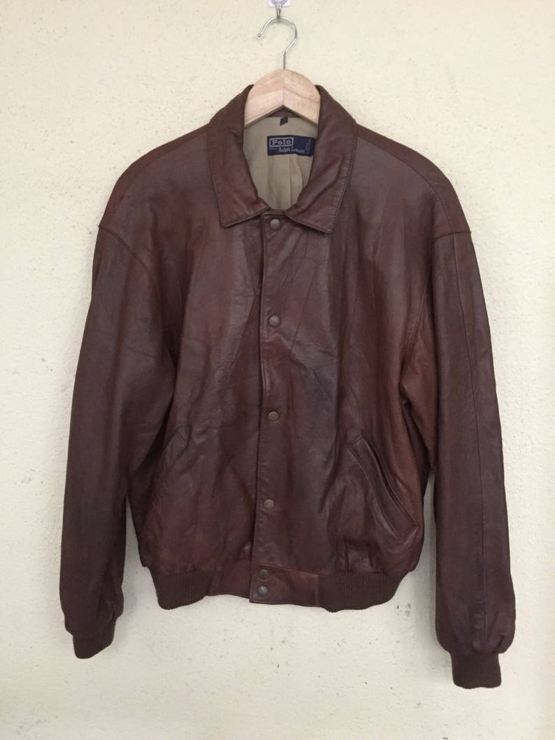 Jacket Lauren Polo Leather Vintage Ralph Rare 35AR4qjL