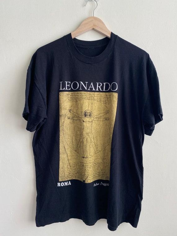 Vintage Leonardo Da Vinci art T shirt/ vintage art