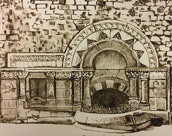 Ladymead Fountain – original drypoint print