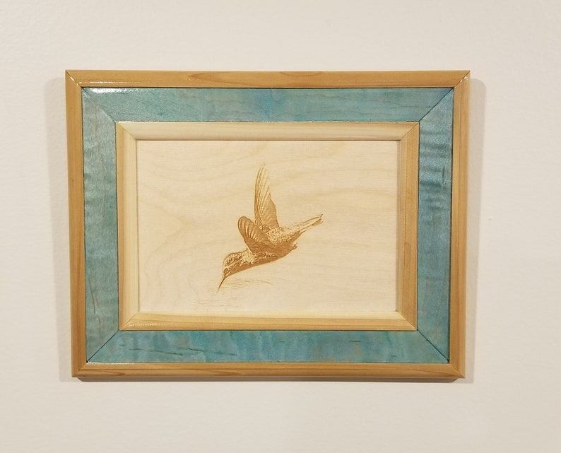 Hummingbird Print Laser Engraved Wooden Frame Wall Art image 0