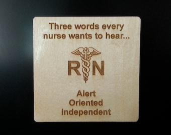Nurse Coaster, Nurse Gift, RN Gift, Nurse Graduation, New Nurse, Nursing Instructor, Retirement, Stocking Stuffer, Secret Santa