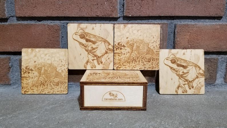 Frog Coasters Frog Gift Frog Decor Laser Engraved Wood image 0