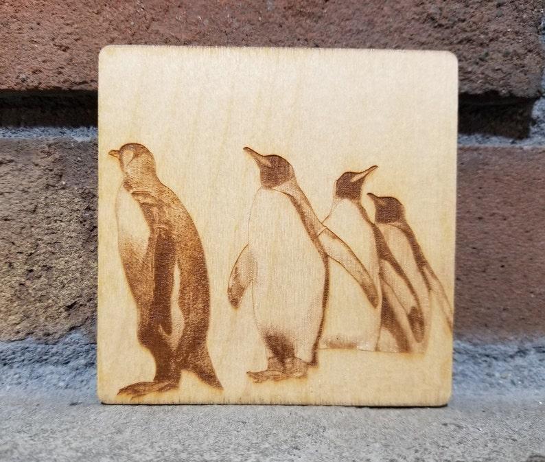 Penguin Coaster Penguin Magnet Penguin GiftLaser image 0
