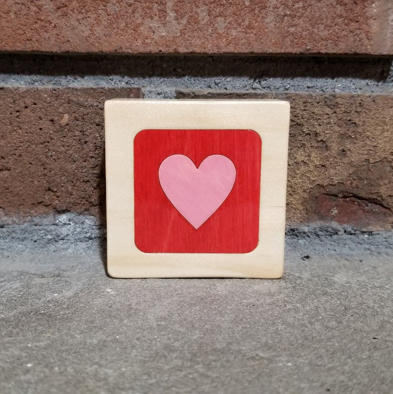 Pink Heart on Red Personalized Little Wooden Box Valentines image 0
