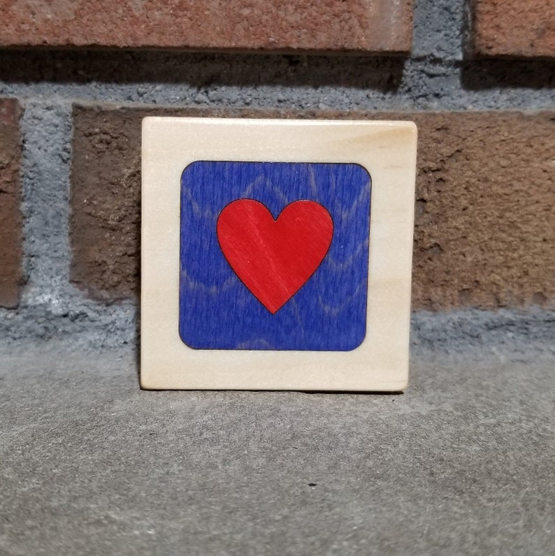 Red Heart on Dark Blue Personalized Little Wooden Box image 0