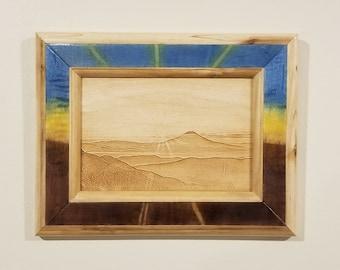 Desert Sunrise Landscape, Laser Engraved, Handmade Wooden Frame, Wall Art, Wall Decor, Western Red Cedar Frame, Wall Hanging, Framed Art