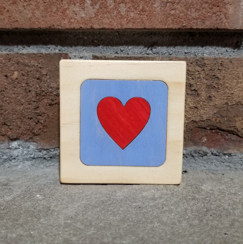 Red Heart on Light Blue Personalized Little Wooden Box image 0