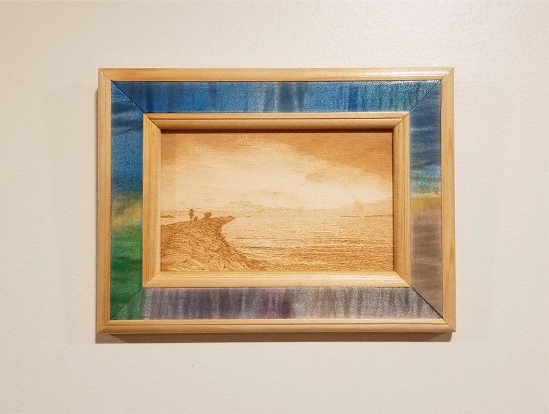 Shoreline Landscape PrintLaser EngravedHandmade FrameWall image 0