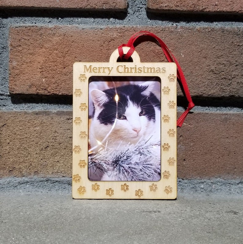 Cat Paw Print Ornament Picture Frame Ornament Photo Frame image 0