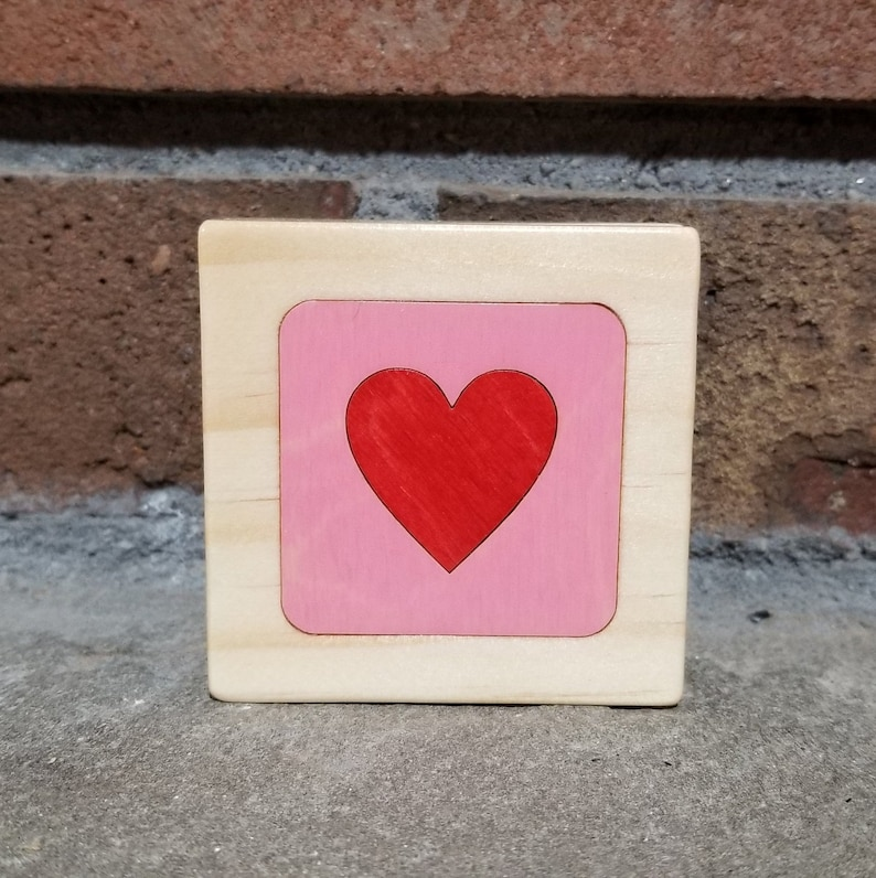 Red Heart on Pink Personalized Little Wooden Box Christmas image 0