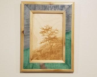 Nature Landscape Print, Laser Engraved, Handmade Wooden Frame, Wall Art, Wall Decor, Western Red Cedar Frame, Wall Hanging, Framed Art