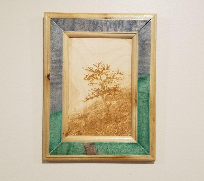 Nature Landscape Print Laser Engraved Handmade Wooden Frame image 0