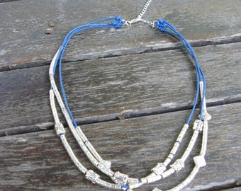 Necklace MULTISTRAND leather and silver