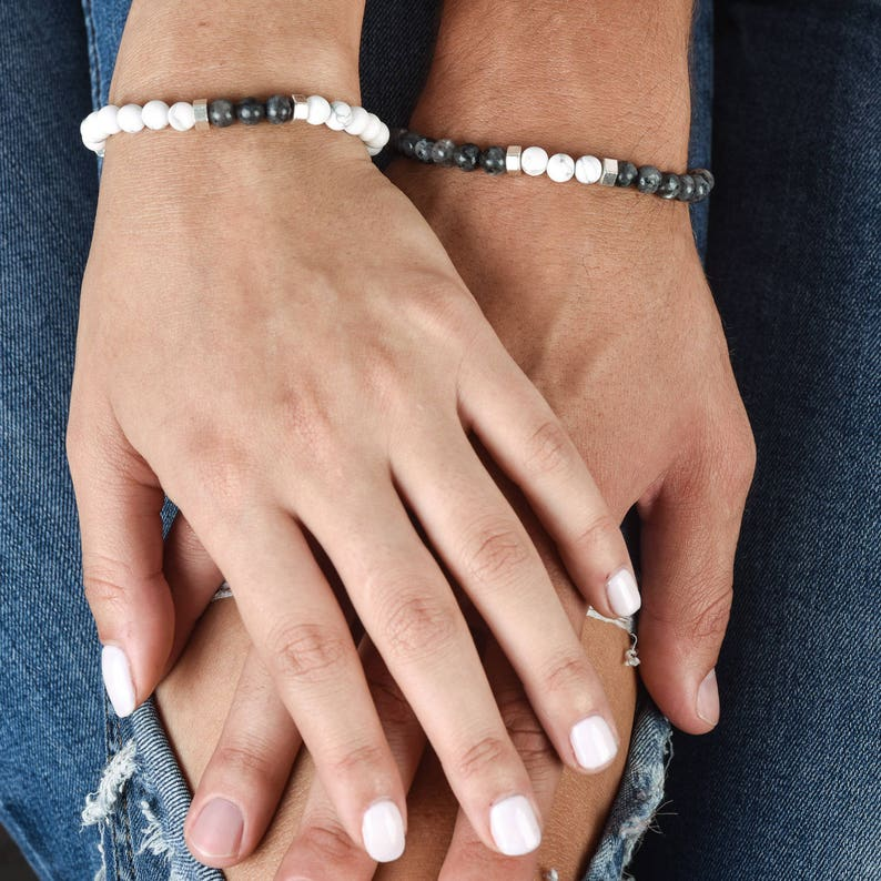 Wedding and Anniversary Gift Christmas gift for best friend Couples Bracelets Gemstone Jewelry Matching Couple Bracelets His And Her