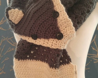 Argenteus the Grey Fox Scarf. Crochet scarf with button accents.