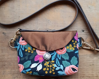 Mini Fanny Pack, hip bag, 100% upcycled in Floral with brown strap