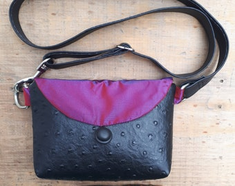 Mini Fanny pack, hip bag, 100% upcycled in Black and Pink