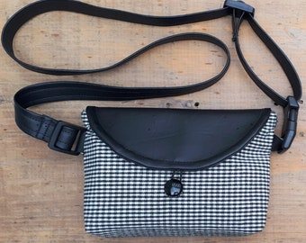 Mini Fanny pack, hip bag, 100% upcycled in Black and White