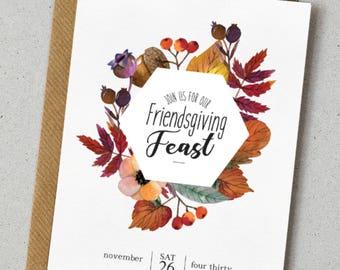 INSTANT DOWNLOAD - Printable Thanksgiving Invitation | Friendsgiving Invite