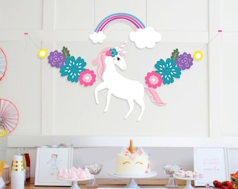 INSTANT DOWNLOAD - Unicorn and Rainbow Garland   Unicorn Party Printables   Unicorn Party Decorations