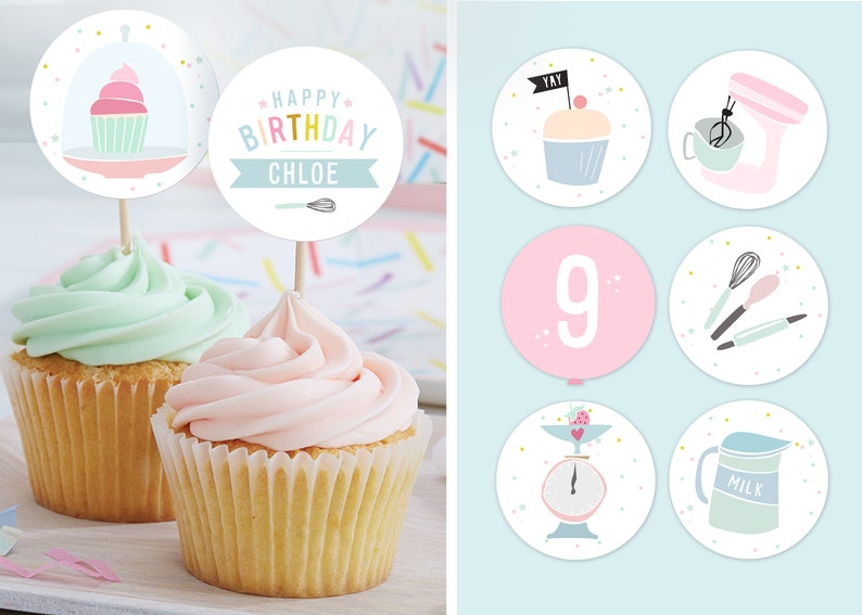 INSTANT DOWNLOAD  Baking Party Cupcake Toppers  Cupcake image 0
