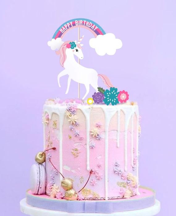 Printable Unicorn Cake Topper Unicorn Party Decor Etsy