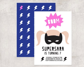 INSTANTLY DOWNLOAD - Girl's Superhero Invite | Girl's Superhero Invitation | Superhero Party Printables
