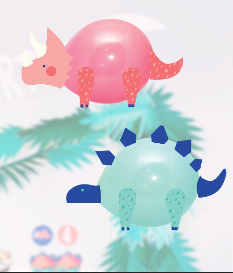 PRINTABLE  Dinosaur Balloons  Dinosaur Party Decorations  image 0