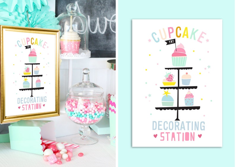 INSTANT DOWNLOAD  Cupcake Decorating Poster  Baking Party image 0