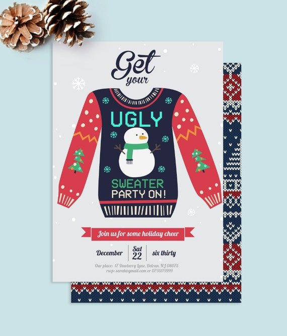Ugly Christmas Sweater Party Invite.Instant Download Ugly Christmas Sweater Party Christmas Party Invite