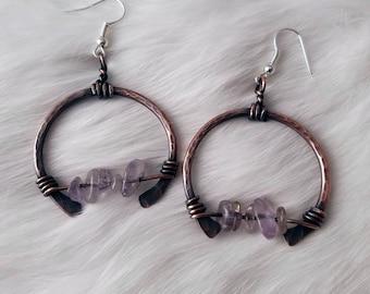 Amethyst copper hoop earrings boho crystal handmade