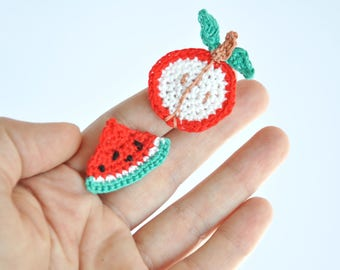 Foodie gift Cupcake apple watermelon Crochet applique Fruit Sweets embellishment Children accessories Sewing patches Summer Set of appliques