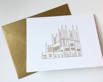 Gold Embossed National Cathedral Note Card