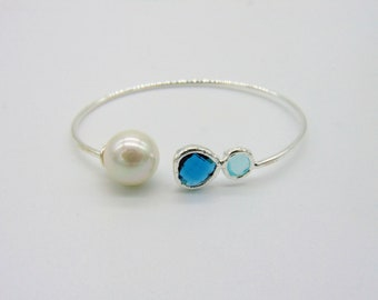 Pearl and Blue Crystal Bangle Bracelet