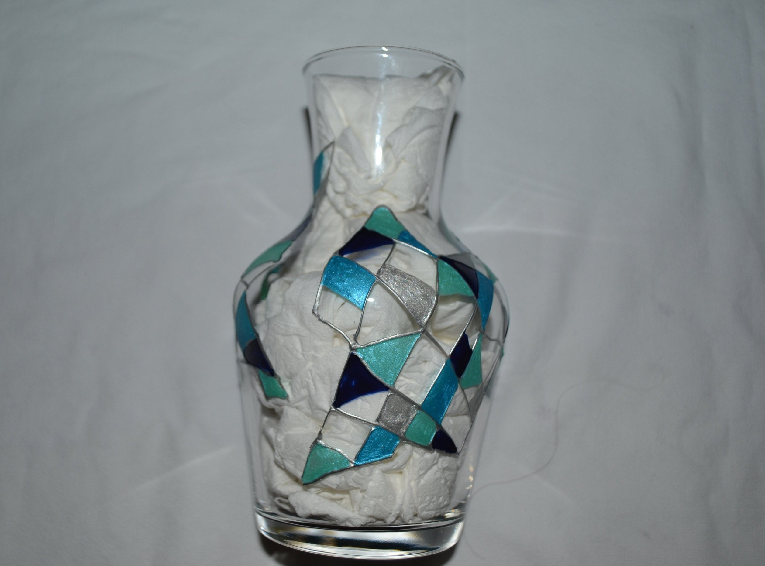 Idee Deco Pour Grand Vase Transparent decanter, painted glass vase, graphic patterns, turquoise blue, stained  glass, color, decorated pitcher vase vase blue vase, glass opaleisis  painting