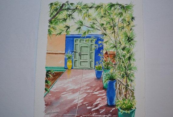 Watercolor Jardin De Majorelle Watercolor Moroccan Etsy